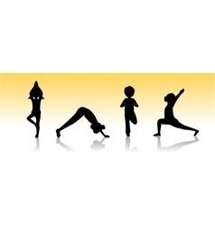 Yoga kids Asanas poses silhouette vector