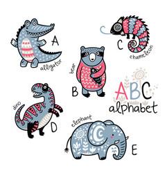 animals alphabet a - e for children vector image vector image