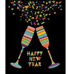 Fun happy new year design of drink glass party vector image vector image