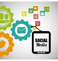 socila media mobile device team work vector image