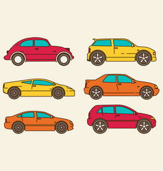isolated cars set flat design style vector image vector image