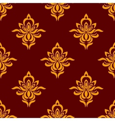 Maroon and orange seamless floral pattern vector