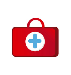 red suitcase healthcare with blue hospital symbol vector image