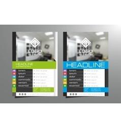Grey blue brochure flyer template design vector image