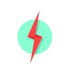 red lightning icon like flash logo vector image