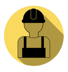 Worker sign flat black icon with flat vector