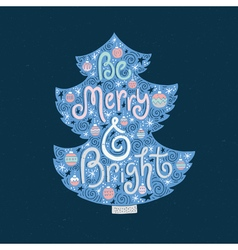 Christmas lettering in the tree vector image vector image