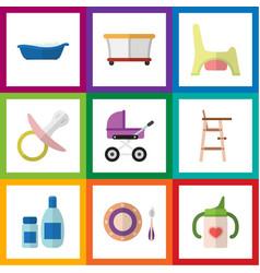 Flat kid set of bathtub child chair playground vector