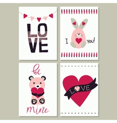 Set of love card vector image vector image