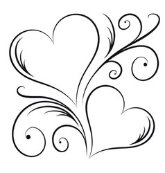 two hearts with swirl elements vector image vector image