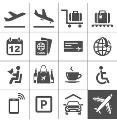 Universal airport and air travel icons vector