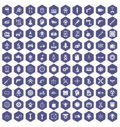 100 gear icons hexagon purple vector