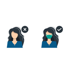 a girl woman with medical mask and guy vector image
