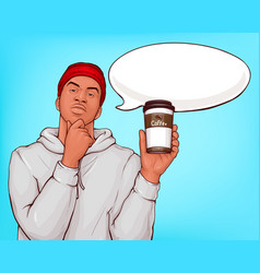 afro-american man drinking coffee pop art vector image