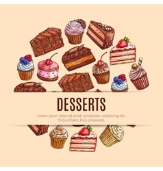 Bakery sweets and pastry dessert food banner vector