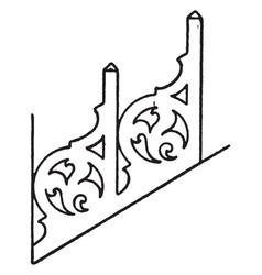 Barge-board perforated crest dismantled vintage vector