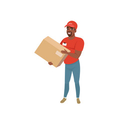 Bearded afro-american man delivering package vector