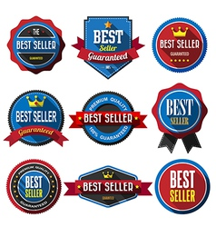 BEST SELLER retro vintage badges and labels Flat d vector image