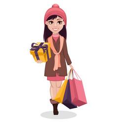 black friday beautiful girl cartoon character vector image