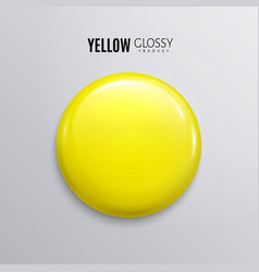 Blank yellow glossy badge or button 3d render vector
