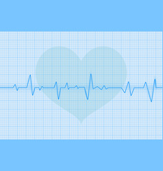 Blue electrocardiogram with heart symbol vector