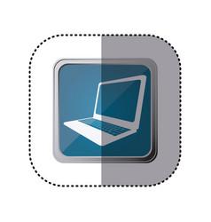 Blue emblem laptop technology icon vector
