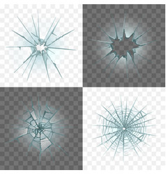 Broken and damaged glass set vector