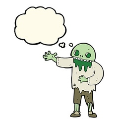 Cartoon spooky zombie with thought bubble vector