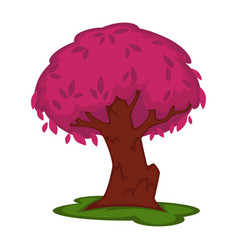 Cartoon violet tree with massive trunk on green vector