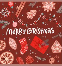 christmas greeting card flat lay design presents vector image