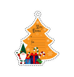 christmas tree and gnome with gifts gift tag vector image