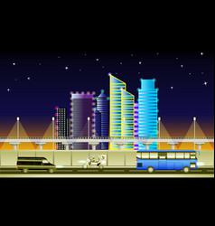 city highway at night vector image