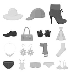 clothes and accessories monochrome icons in set vector image