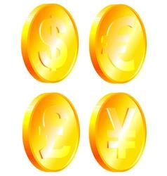 Coins of dollar euro yen pound vector