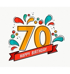 Colorful happy birthday number 70 flat line design vector