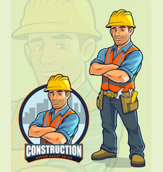 construction worker mascot design for vector image