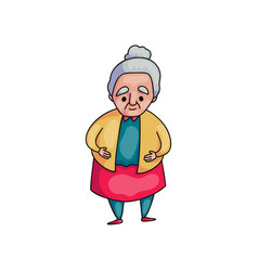 cute old senior woman with grey hair in red skirt vector image