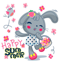 Cute rabbit girl with flowers vector