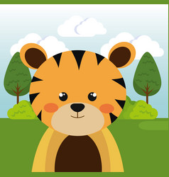 Cute tiger in the field character vector