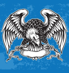 Detailed Hand Drawn Eagle Holding Scroll Vect vector