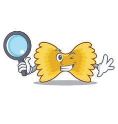 detective farfalle pasta character cartoon vector image