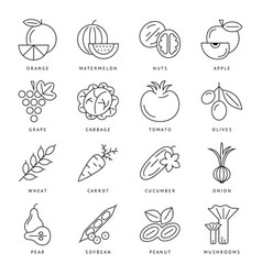 Digital black green vegetable icons set vector