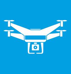 Drone video camera icon white vector