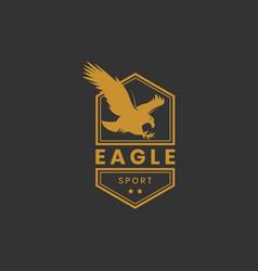 eagle sport logo design in gold color vector image