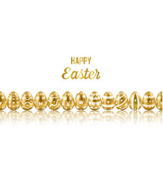 easter gold eggs horizon seamless web banner vector image