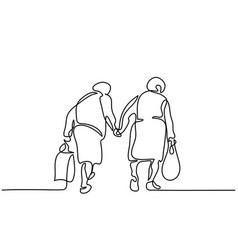 Elderly women friends walking vector
