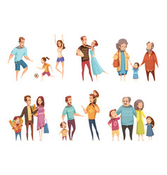 Family cartoon set vector