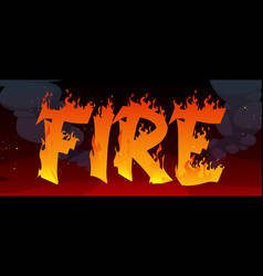 fire banner with text in flame and black smoke vector image