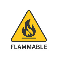 Flammable sign icon in yellow triangle vector