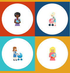Flat icon mam set of perambulator kid mother and vector